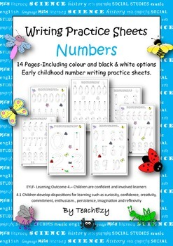 Number Practice Sheets Preschool and Kindergarten