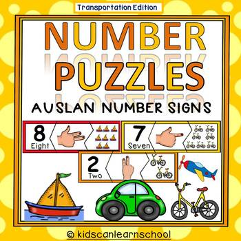Number Puzzles 1-10- Transportation Edition- AUSLAN NUMBER SIGNS
