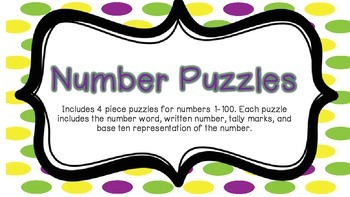 Number Puzzles 1-100: Number, word, tallies, and base 10 blocks
