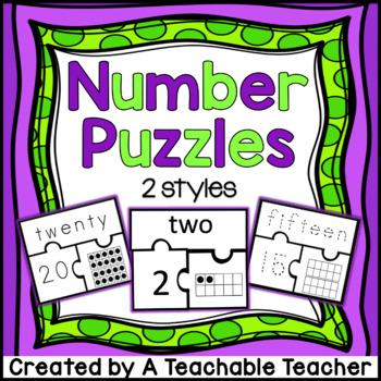 Number Puzzles 1-20 {Number, Number Word, Ten Frames}