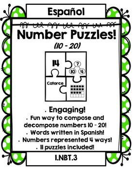 Number Puzzles 10 – 20 (SPANISH!)