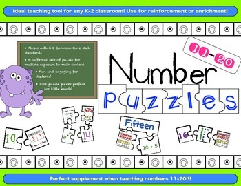 Number Puzzles 11-20 {4 Different Sets!!! Aligns with Comm