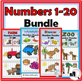 Number Puzzles Bundle - Numbers 1-20 – Farm, Dinosaurs, Oc
