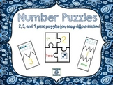Number Puzzles--Match number, ten frame, word, and dice dots