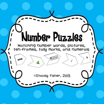Number Puzzles-Number Words, Pictures, Ten-Frames, Tally M