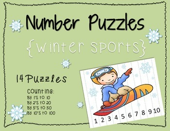 Number Puzzles {Winter Sports}; CCLS; PreK, Kindergarten, 1st