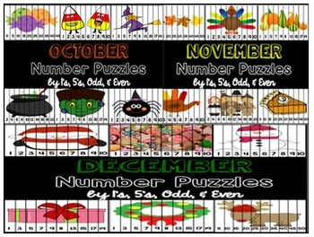 Number Puzzles for Every Month of the Year GROWING BUNDLE