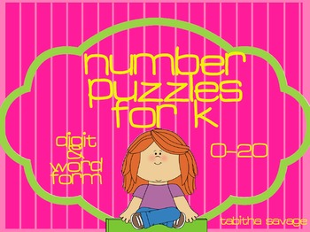 Number Puzzles for Kindergarten- 0-20 word and digit with