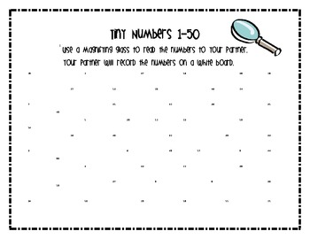 Number Recognition 1-50 : Tiny Number Math Center