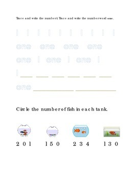 Number Recognition Number One Trace Write Circle Fish Tank