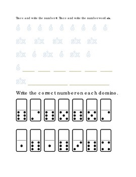 Number Recognition Number Six Trace Write Domino Dots Kind