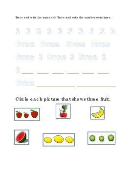 Number Recognition Number Three Trace Write Circle Apple F