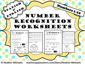 1-10 Number Recognition Worksheets in English and Spanish