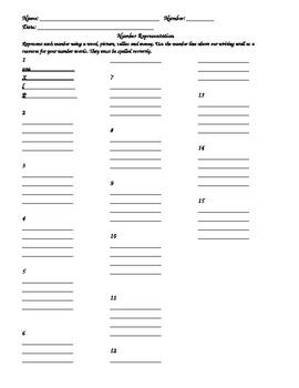 Number Representation Worksheet