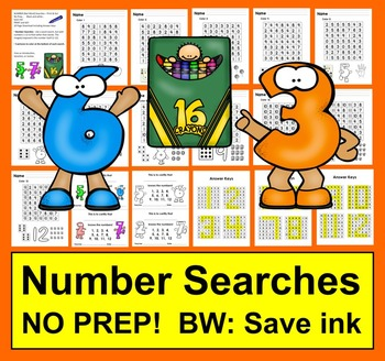 Number Searches No Prep BW: Save ink!