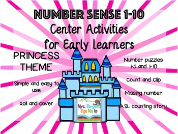 Number Sense Center Activities 1-10 PRINCESS EDITION