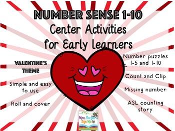 Number Sense Center Activities 1-10 VALENTINE'S EDITION