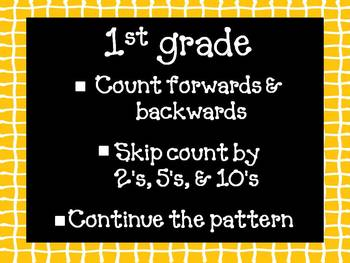 Counting Forwards, Backwards, Skip Counting by 2's, 5's, &