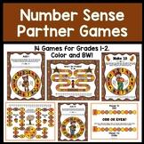 Number Sense Dice Partner Games for Grades 1-2 (Fall-Themed)
