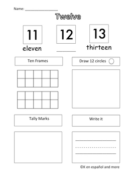 Number Sense - Number 12 (Eng & Span)