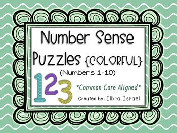 Number Sense Puzzles for Numbers 1-10 {COLORFUL}
