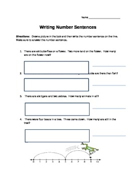 Number Sentence Worksheet
