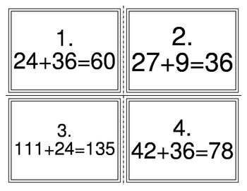 Number Sentences to Check Task Cards