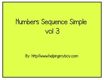 Number Sequence Basic  3 ABA/Autism/Special Needs