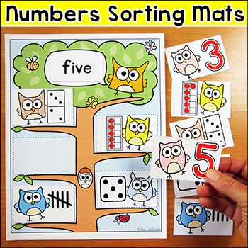 Numbers Math Center: Numbers Sort - Owl Theme