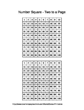 Number Square - Two to a Page