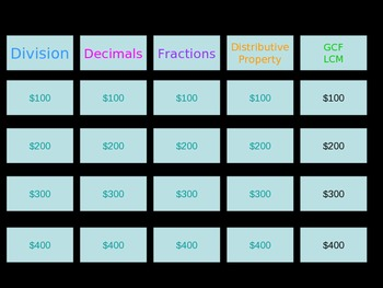 Number Systems Jeopardy Review