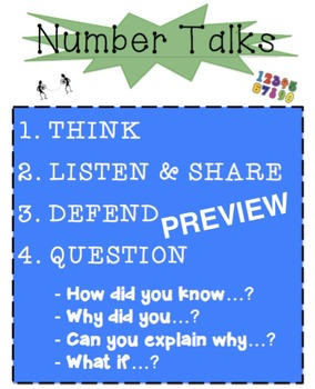 Number Talks Anchor Chart/Poster