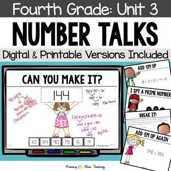 Number Talks / Math Talks ~ November of Fourth Grade ~ Com