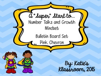 Number Talks and Growth Mindset Bulletin Board Set (Blue Chevron)