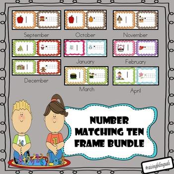 Number Ten Frame Matching Bundle