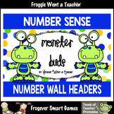 "Number Wall Posters/Headers--Number Sense ""Monster Buds"" (green)"