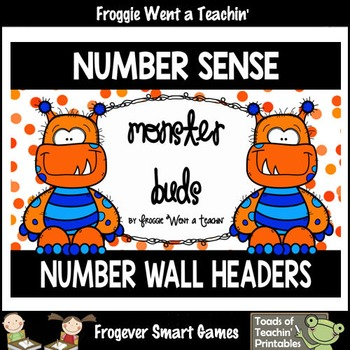 """Number Wall Posters/Headers--Number Sense """"Monster Buds"""" (orange)"""