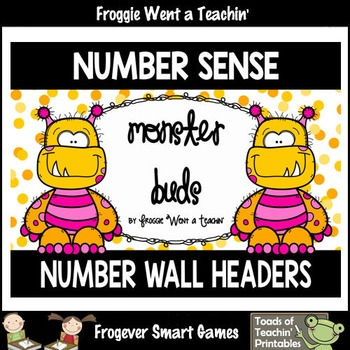"Number Wall Posters/Headers--Number Sense ""Monster Buds"" ("