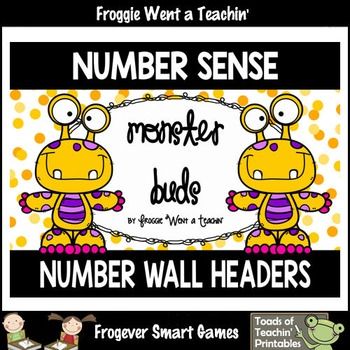 "Number Wall Posters/Headers--Number Sense ""Monster Buds"" ("
