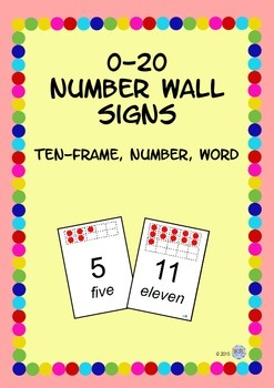 Number Wall Signs 0-20 with Ten-Frame, Number and Word Pos