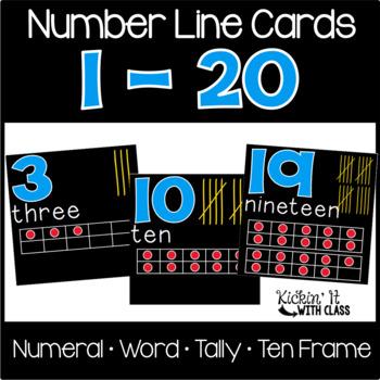 Number Line Word Cards 1-20 {black}