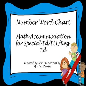 Number Word Chart -Math Accommodation For Regular/ELL/Spec
