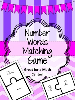 Number Words Matching Game. Math Center. Puzzle