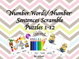 Number Words/ Number Sentence Scramble Puzzle