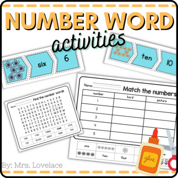 Number Words and pictures: Cut and Paste 1-10