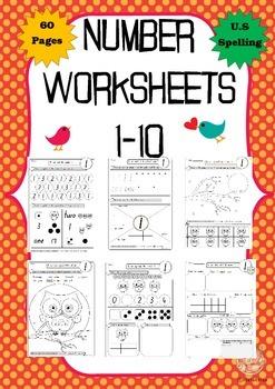 Number Worksheets:1-10, 60 printable pages U.S spelling (K