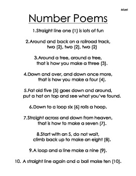 Number Poems 1 - 10