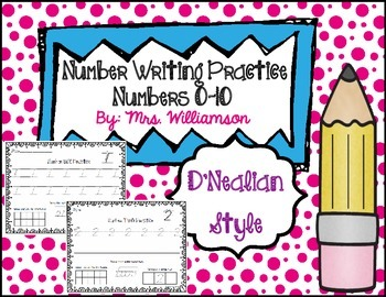 Number Writing Practice 0-10- D'Nealian Style