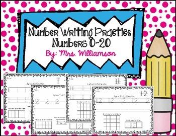 Number Writing Practice Bundle- Numbers 0-20