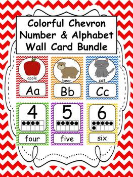 Number and Alphabet Colorful Chevron Wall Card BUNDLE